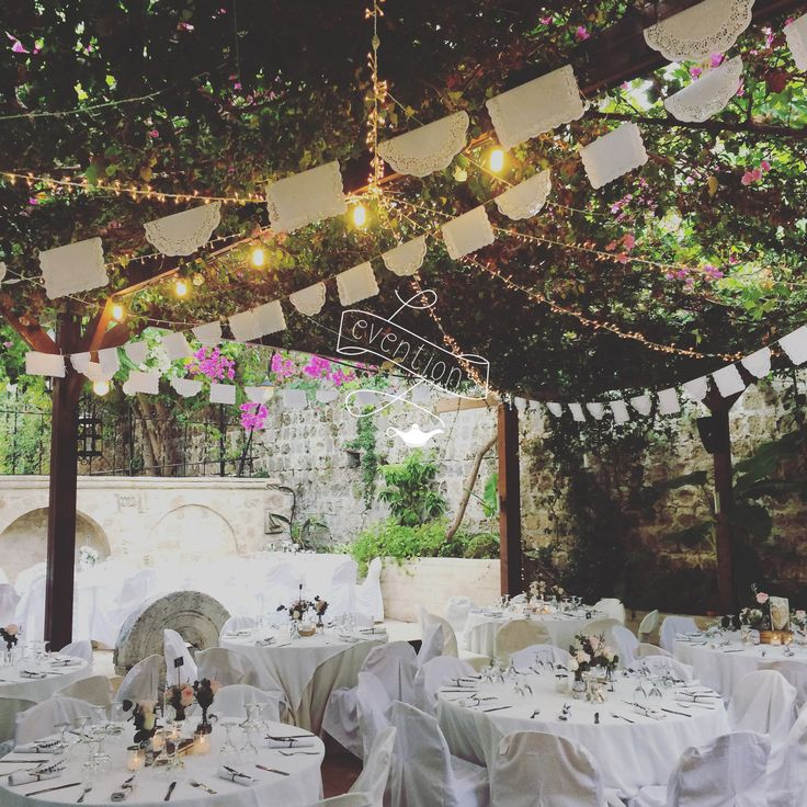 Roof decoration with handmade dollies garland and mini bulbs christmas lights! Wedding planning in Rhodes,Greece..