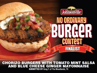 """Chorizo Burgers w/ Tomato Mint Salsa & Blue Cheese Ginger Mayo"" made with Johnsonville Chorizo Patties by Greg F."