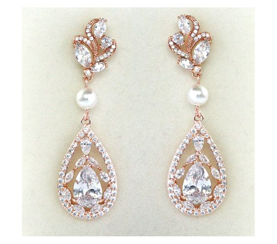 Check out Rose Gold Bridal Earrings Wedding Cubic Zirconia  Tear Drops Pearl Bridal Jewelry Rose Gold Crystal Wedding Earrings-Victoria Earrings on wearableartz
