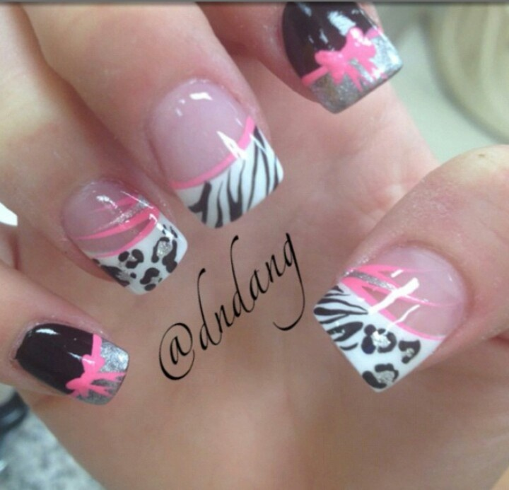 100 best nails images on pinterest make up black and black and pink nails with cheetah and zebra prinsesfo Image collections