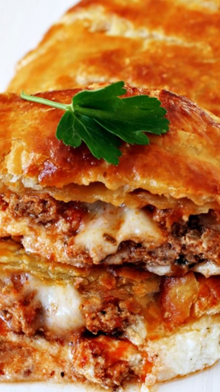Cheesy Meatball Puff Pastry Calzone ~ Ricotta, mozzarella and meatballs stuffed into buttery puff pastry and baked until gooey and molten with a crispy, golden crust.
