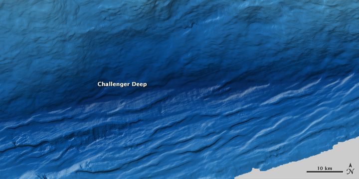 This image of the Challenger Deep in the Mariana Trench, the deepest spot on Earth, was made using sound waves bounched off the sea floor. Darker blues represent deeper spots.