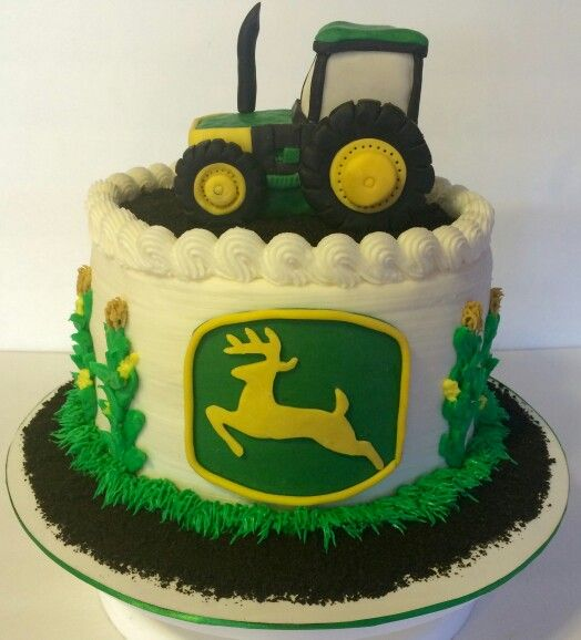 Rice krispy tractor on a John Deere cake :)