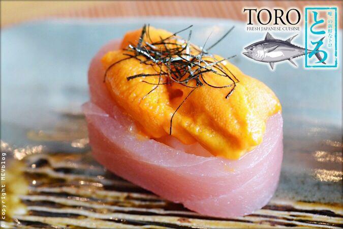ข้าวห่อโทโร่ชิ้นหนาหน้าไข่หอยเม่น (Toro King) www.mevblog.com/mev/toro-sushi  #Mevblog #Toro #Uni #Sushi #Sushibar #Japanese #Cuisine #Recommended #Food #Foodie #Delicious #Bangkok