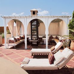 The rooftop lounge at Riad Kniza in Marrakech
