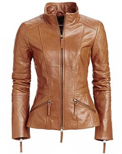 Love this short collared brown leathet jacket by Danier. Fall 2013.