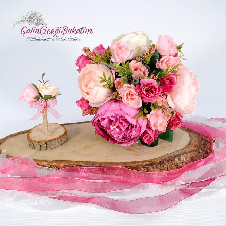Somon Fuşya Pudra Pembe Güller Gelin Buketi ve Damat Çiçeği (2'li Set)