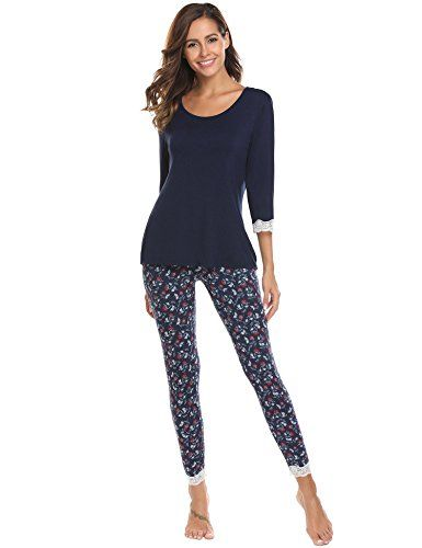 6a949740db ADOME Damen Schlafanzug lang Blumen herbst Winter Jersey Nachtwäsche warm  leicht Atmungsaktiv