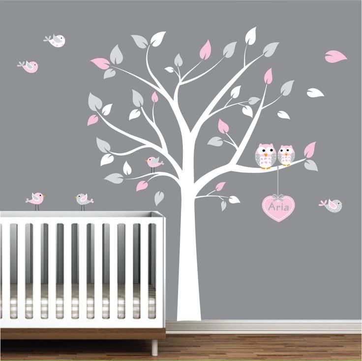 Nursery Wall Decals Tree With Custom Name Decal Owls Birds. $99.00, via Etsy.