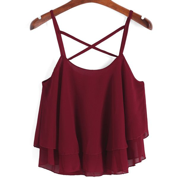 Spaghetti Strap Chiffon Cami Top (€9,01) ❤ liked on Polyvore featuring tops, shirts, crop tops, tank tops, red, cropped cami, chiffon tank top, crop shirt, red shirt and red tank