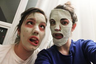 @Kristy Lumsden Johnston Tea with Honey and Montagne Jeunesse face masques with friends!