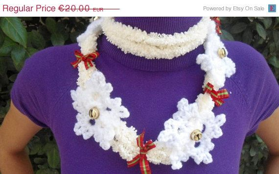 For today only Crochet Scarf Necklace  White Necklace by CRAZYBOOM