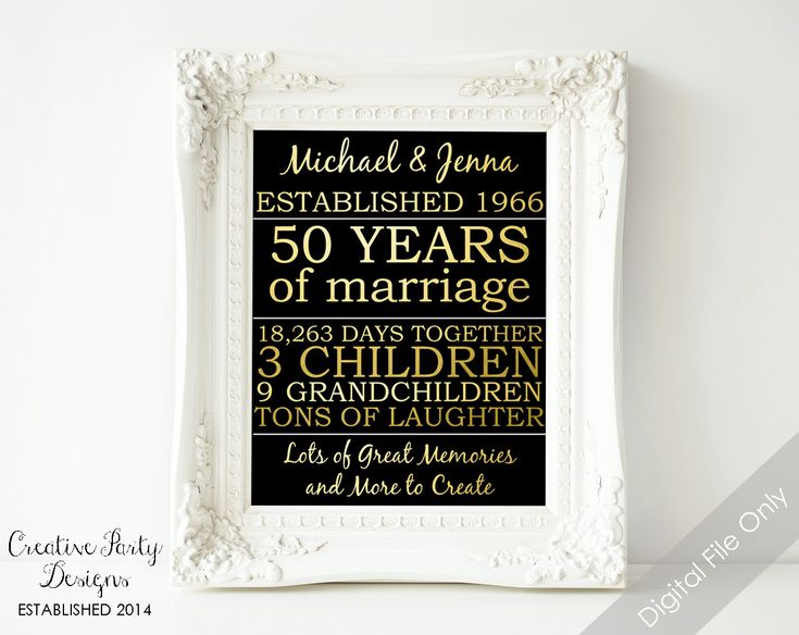 50th Wedding Anniversary Gift Ideas For Wife : 50th wedding anniversary gift anniversary gifts for parents gift for ...