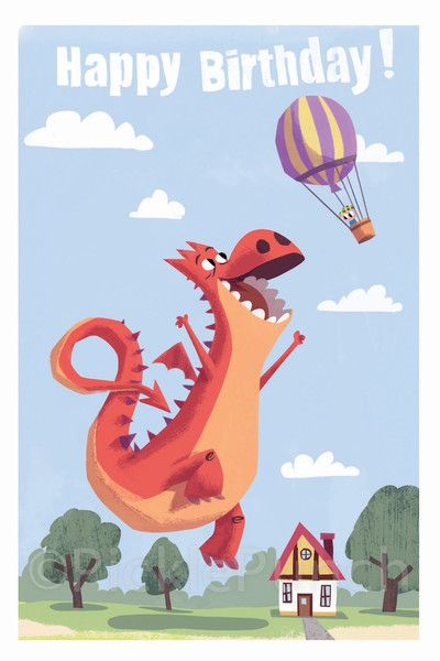 This Dragon is ecstatic about birthdays! Another card from Pickle Punch!