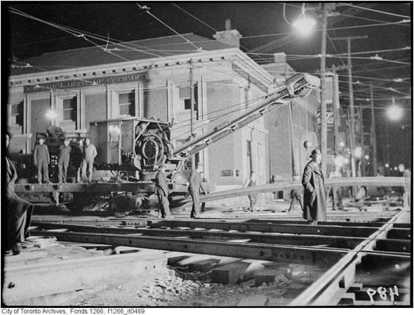 Track work at the foot of Roncesvalles, 1920s