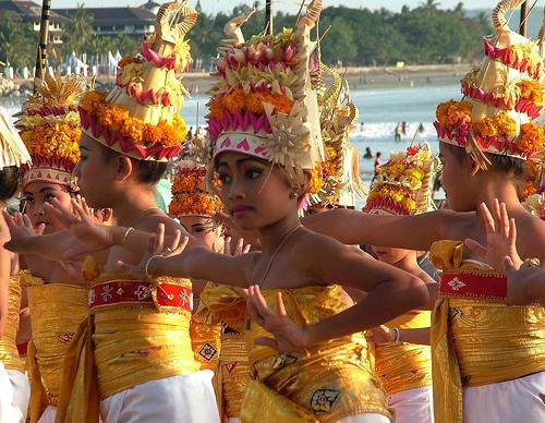 Indonesia Bali Hindu Melasti Ceremony Kuta Beach