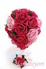 花嫁さまのブーケレッスン☆ティアドロップブーケ☆クランベリーxピンク。ローズを開花させてゴージャスxシンプルに。