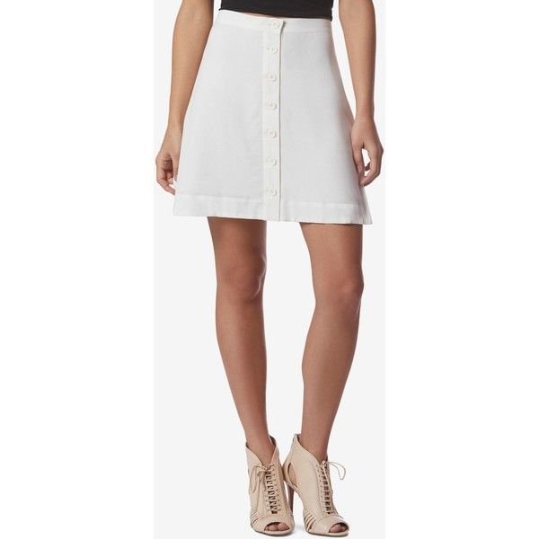 Avec Les Filles Button-Front A-Line Mini Skirt ($58) ❤ liked on Polyvore featuring skirts, mini skirts, white ice, short a line skirt, mini skirt, white a line skirt, wet look skirt and button front skirt