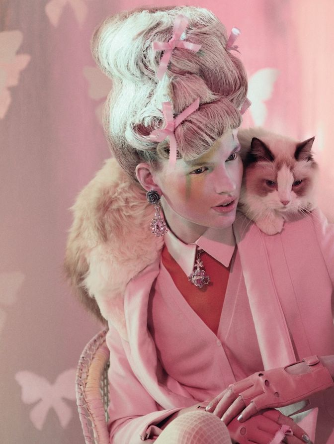 Bette Franke by jeff bark for dazed & confused, 4/12: Marie Antoinette, Jeff Bark, Crazy Cat, Pink, April 2012, Fashion Photography Editorial, Bette Franke, Hello Kitty, Cat Lady