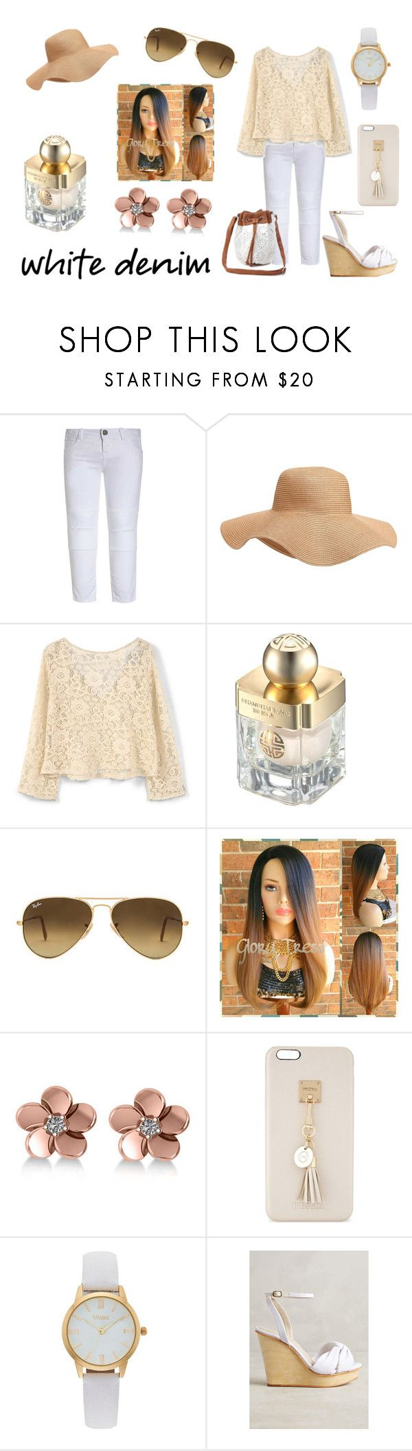 """White denim"" by emily-dickson-1 ❤ liked on Polyvore featuring Old Navy, MANGO, Shanghai Tang, Ray-Ban, Allurez, Iphoria, Vivani, Guilhermina and Charlotte Russe"