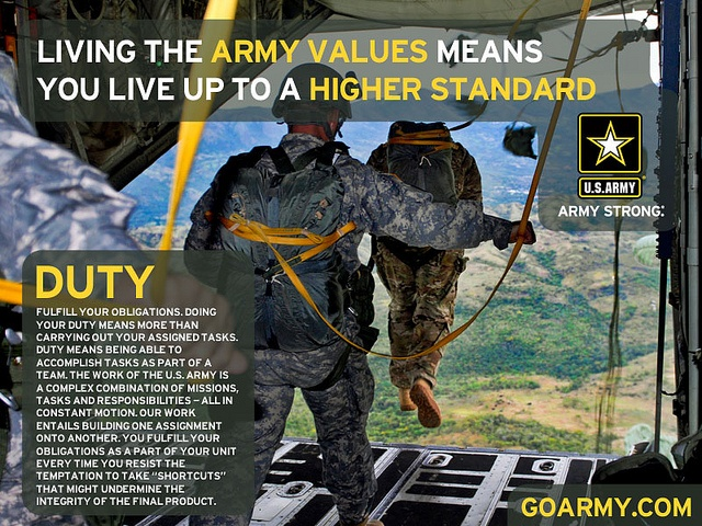 essays on the army value duty In the united states army we are taught to live by the seven army values they are broken down to us in the acronym 'ldrship' which is short for loyalty, duty.