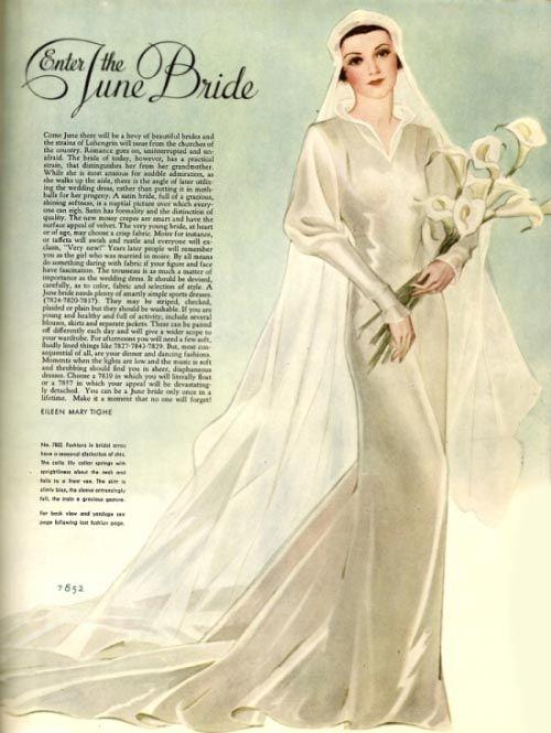 1930s fashion magazine bride. Gorgeous rendering of the fabrics!