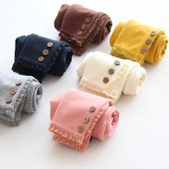 Япония и Южная Корея осенью и зимой детская одежда женская детская хлопок кружево три пряжки плюс бархат леггинсы брюки