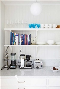 Bracket shelves in the kitchen.  Dishes and glassware. Blue water glasses, books, small appliances. http://cococozy.com: Decor, Kitchen Shelves, Open Kitchen Shelving, Book, Apartment Ideas, Open Kitchens, Open Shelving