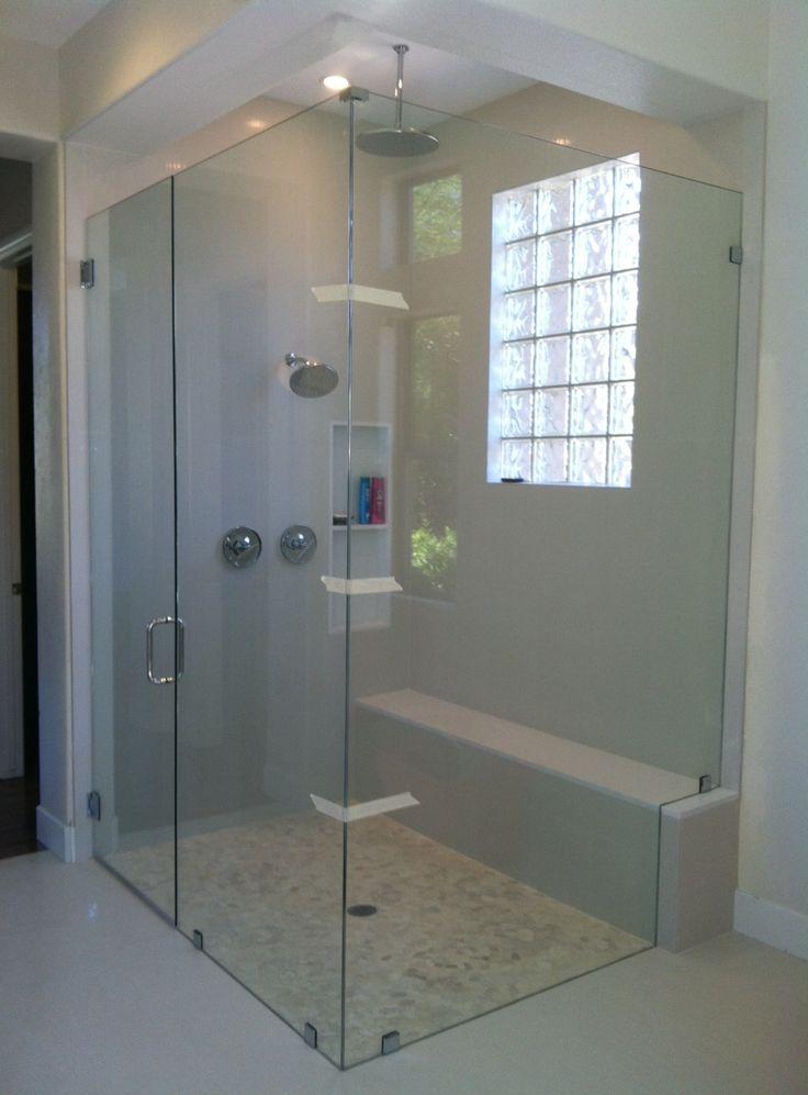 Bathroom Rectangular Tempered Glass Window Feat Contemporary Frameless Shower Door Design Ideas
