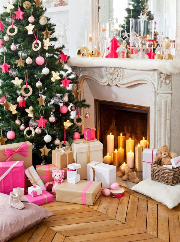 ChicDecó: | Hot pink and gold Christmas decorations. #laylagrayce #holiday #christmastree