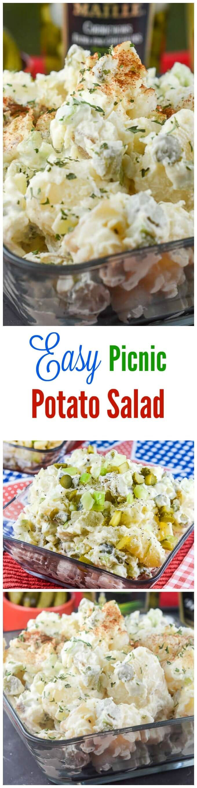 This Easy Picnic Potato Salad recipe makes your classic American potato salad that is perfect to take to a picnic or potluck this summer. ~ http://FlavorMosaic.com