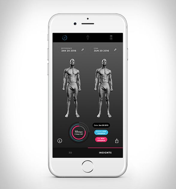 Naked is the world´s first home body scanner, it captures your 3D body model so you can visualize your body's changes over time on the companion app. The mirror and scale combo scan your body to capture a 3-D image, which gives the system the ability