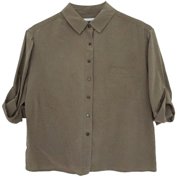 Pre-owned Jaeger Chic Casual Cropped In 100% Washed Silk Button Down... (€56) ❤ liked on Polyvore featuring tops, blouses, shirts, t-shirts, brown crop top, brown button up shirt, cropped button down shirt, brown button down shirt and crop top