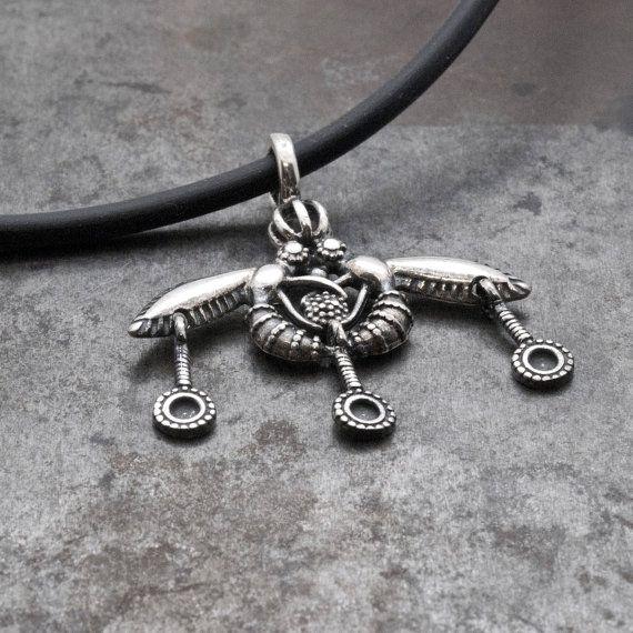 Silver Greek Necklace Bees Pendant Ancient Minoan by GreekMythos