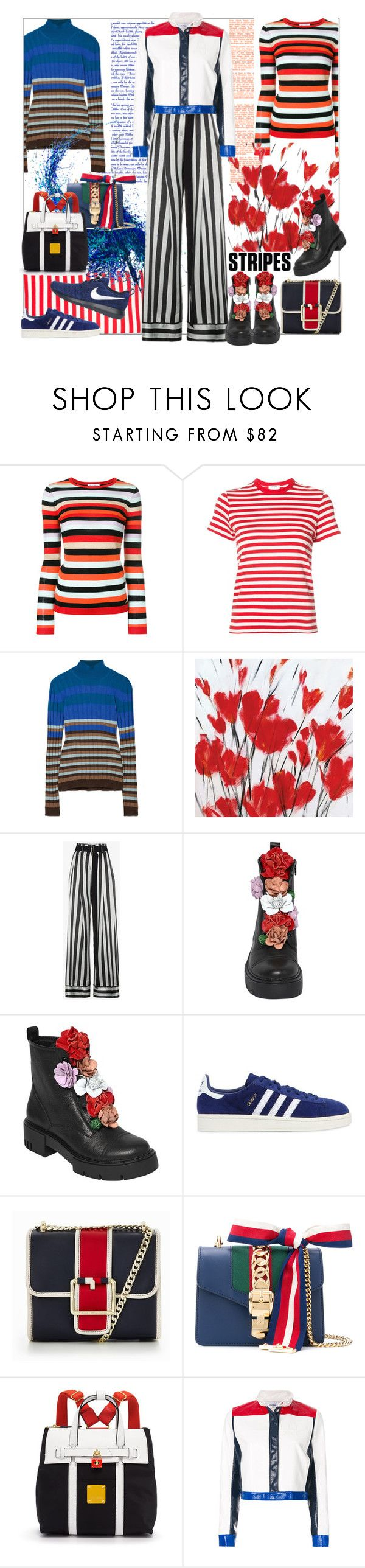 """Pattern Challenge: Stripes on Stripes"" by sylandrya ❤ liked on Polyvore featuring Bella Freud, RE/DONE, Marni, Portfolio Canvas Decor, Ann Demeulemeester, adidas Originals, Tommy Hilfiger, Gucci, Henri Bendel and Courrèges"