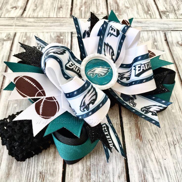 Philadelphia Eagles Hair Bow,OTT NFL Football Hair Bow,Eagles Baby headbands,Infant Headband,Newborn Headband, Sports Hair Bows for Adults