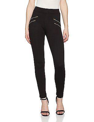 16, Black, Quiz Women's Thick Ponte Gold Zip Leggings