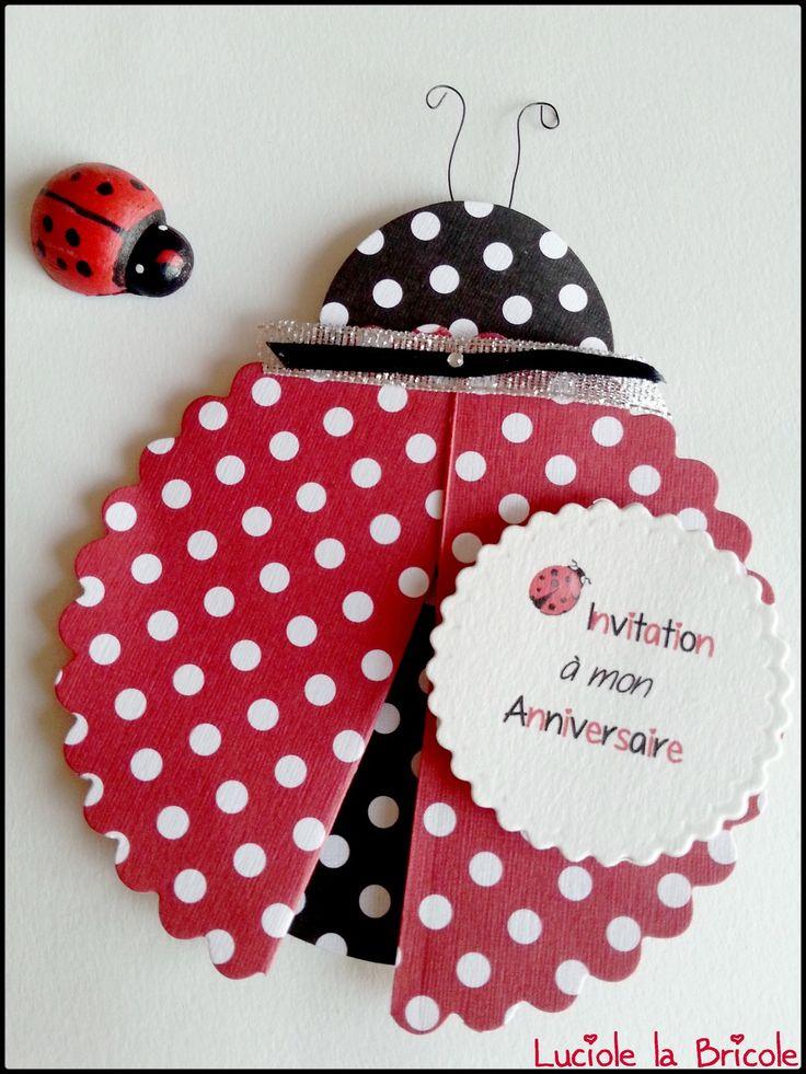 Lot de 5 cartes d'invitation anniversaire thème Coccinelle noire et rouge : Cartes par luciole-la-bricole