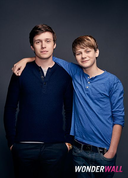 "Nick Robinson and Ty Simpskins share a nice moment during the ""Jurassic World"" junket in Los Angeles."