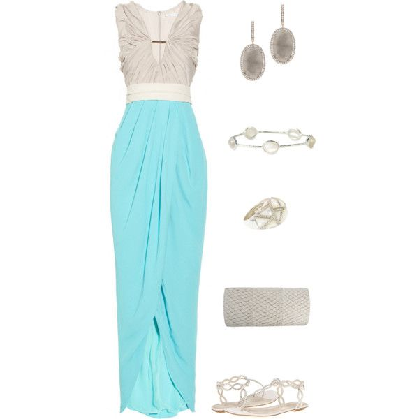 A fashion look from March 2013 featuring Diane Von Furstenberg gowns, Sergio Rossi sandals and Kelly Locke clutches. Browse and shop related looks.