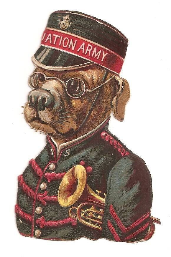 D46 - VICTORIAN SCRAP ANTHROPOMORPHIC SALVATION ARMY DOG EMBOSSED DIECUT OBLATE