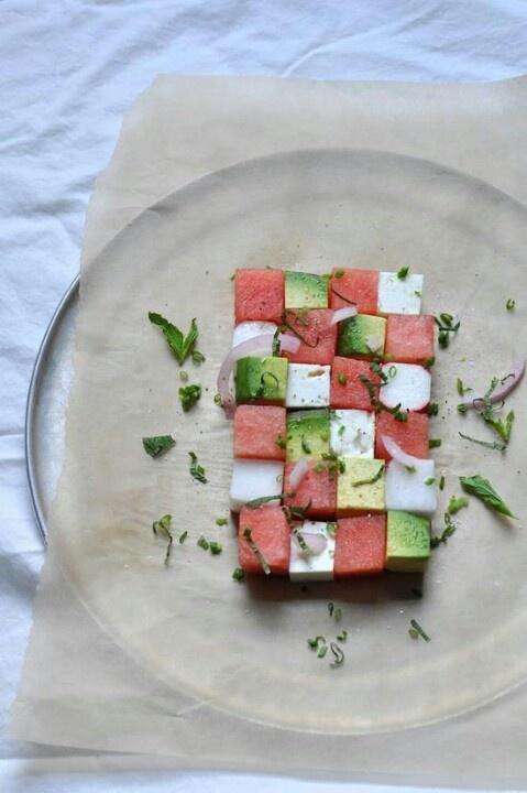 Zomersalade: Watermeloen, feta en avocado. Simpel doch doeltreffend, wauw!