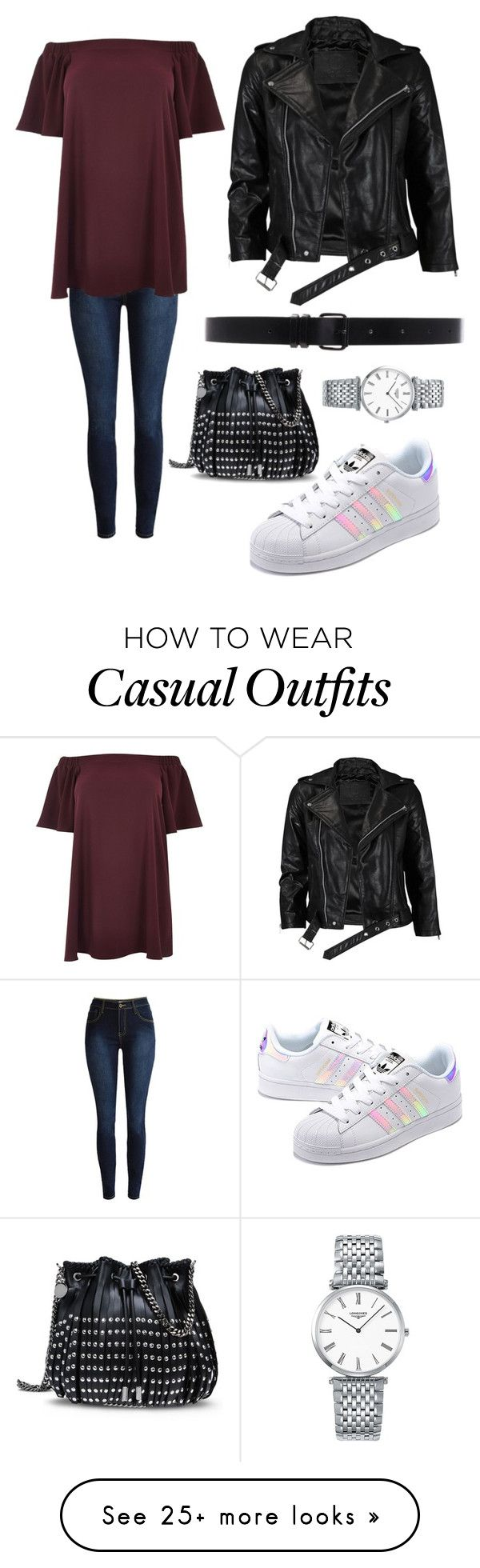 """""""Smart casual"""" by charlotte-ellis-1 on Polyvore featuring River Island, adidas Originals, Longines, STELLA McCARTNEY, VIPARO, Ann Demeulemeester and plus size dresses"""
