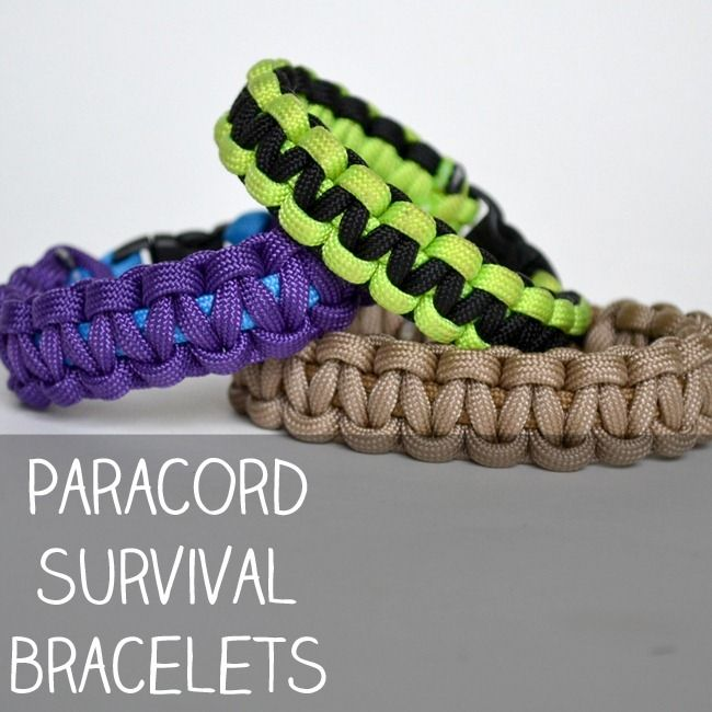 """Paracord survival bracelets. I don't really picture Matthew or Andrew saving their own lives by clever use of the cording, but I think it will probably make them feel super-cool to have a """"survival bracelet"""" for the camping trip."""