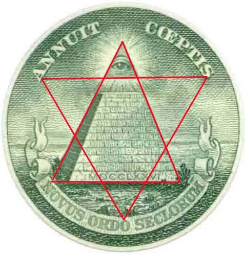 """Egyptian Pyramid with illuminated capstone, with the all-seeing eye of Ra(satan) framed by the Seal of Solomon with each of the six points touching a different letter. Put the letters together and it spells MASON. Under this symbol, the words """"Novus Ordo Seclorum"""" are written. It translates to New World Order. Type NWO into google and see how many politicians, including presidents, and bankers are calling for """"A New World Order."""""""