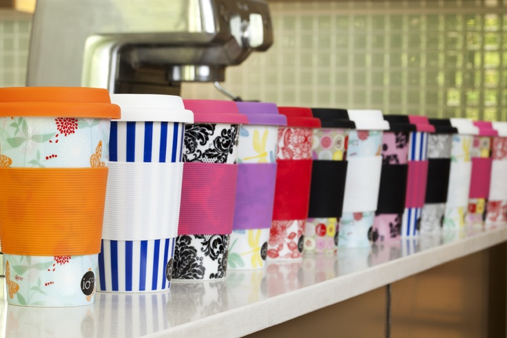 ioco ceramic coffee travellers... colour and prints... mix and match for your coffee on the go... the stylish alternative to paper cups...     shop now www.ioco.com.au