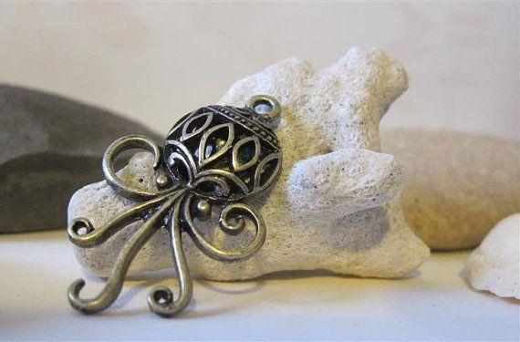 5 pcs Antique Bronze Steampunk Squid Octopus Nautical by TroveMine, $4.00