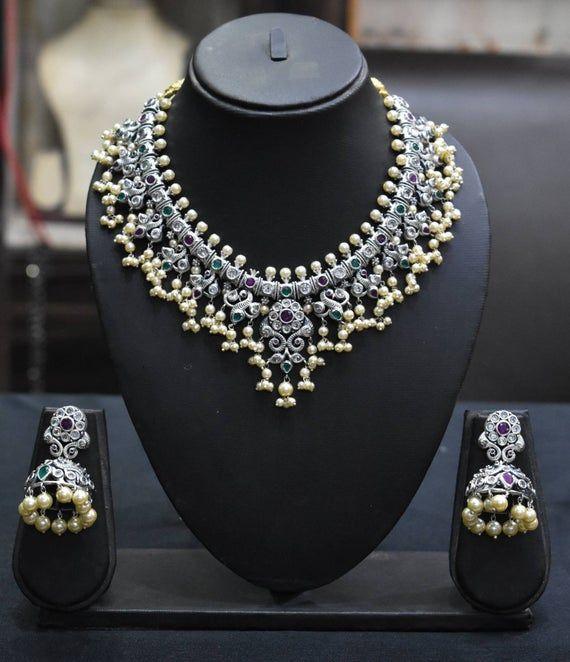 Indian choker,Indian jewelry,Ethnic jewelry With Kemp Stone Trendy jewelry German silver,Indian Choker,Beautiful Work With Pearl