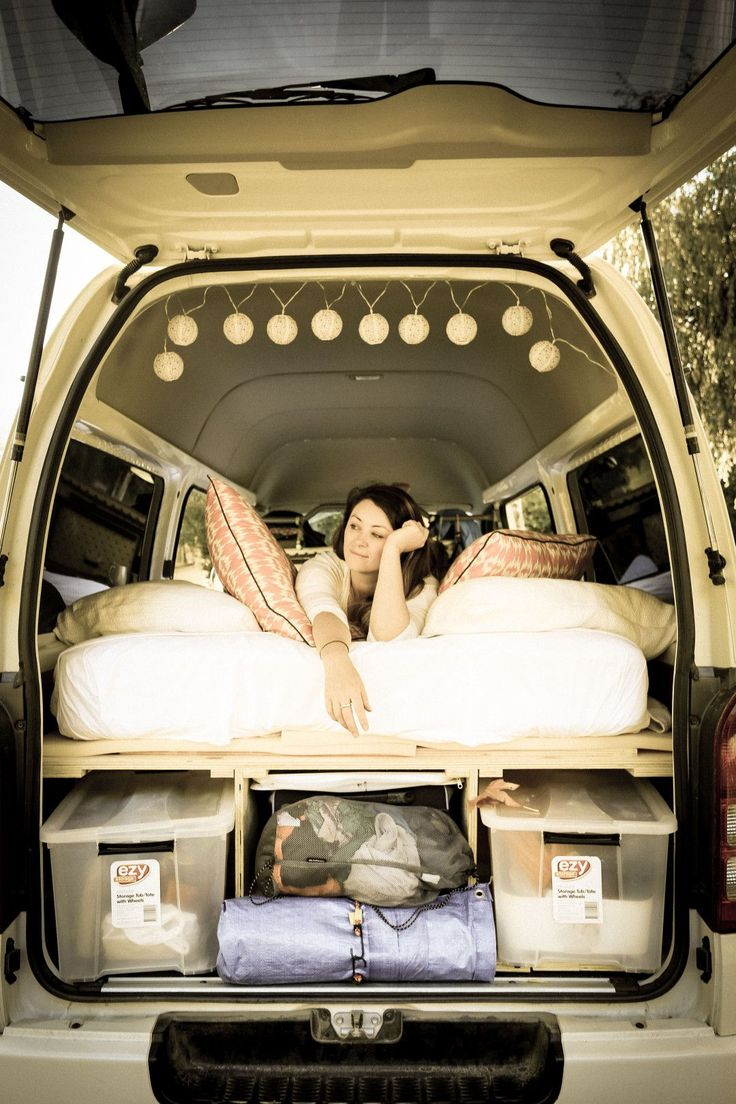 We designed a removable, plywood sleeping platform with storage underneath for our Toyota Hiace van. It's comfy, it's warm and we're delighted that all the pieces actually fit. So…