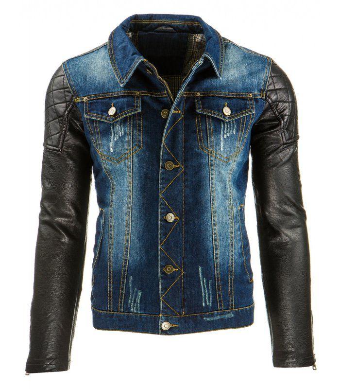 Fantastická pánska džínsová bunda so zapínaním na gombíky a zips. Destroyed denim - štylizovaná ako zničená. Rukávy z ekologickej kože. Štyri vonkajšie vrecká. Módny dizajn a jedinečný vzhľad. Ideálne na každý deň.